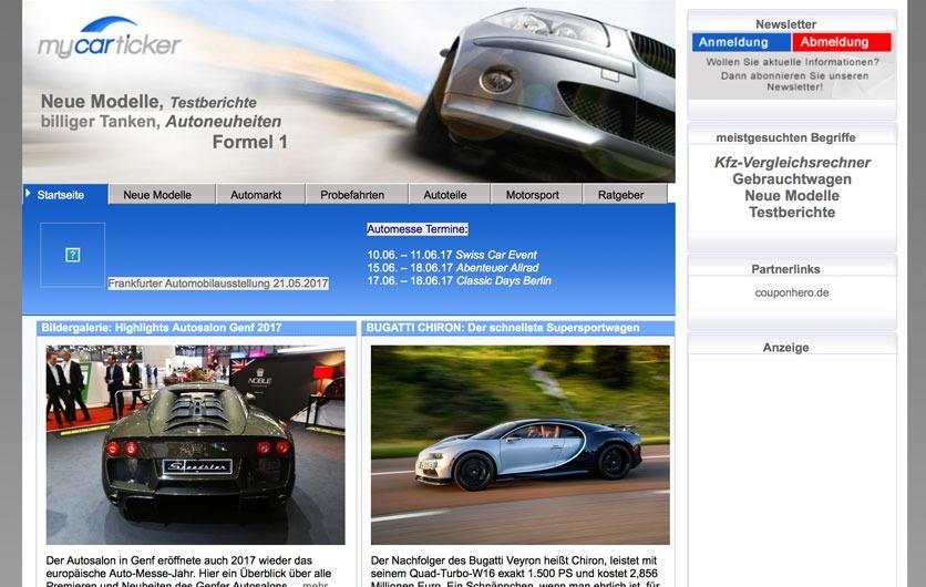 Mycarticker Webseite